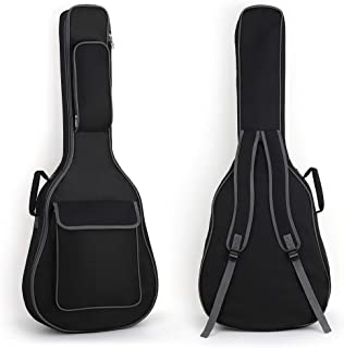 吉他包防水吉他包带口袋收纳包耐用手柄和可调节肩带民间琴袋,黑色