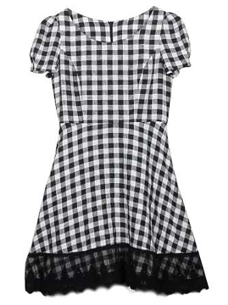 Five Plus 亚麻连衣裙 女式 黑白格 XS 2112082150923