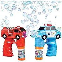 Art Creativity 气泡机鼓风机枪火器和警察套装 - 闪烁灯光和声音射击喷枪 - 儿童玩具 - 消防车、警车,4 个消防车,含电池