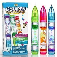 YoYa Toys Liquipen – 液体运动泡泡笔感官玩具(3 件装) – 像普通笔一样书写 – 彩色液体定时笔 非常适合*和* – 适合儿童和成人的炫酷玩具