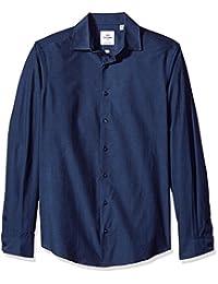 BEN Sherman 男式蓝色 tonic 府绸修身正装衬衫