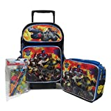 """Transformers Autobots Roll Out Large 16"""" Rolling Backpack Roller Wheeled Book Bag, 3D FX Lunch Box & Stationery Set"""