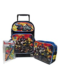 "Transformers Autobots Roll Out Large 16"" Rolling Backpack Roller Wheeled Book Bag, 3D FX Lunch Box & Stationery Set"