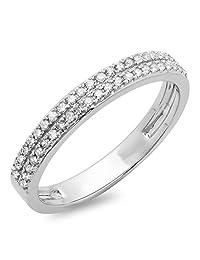 0.20 Carat (ctw) 10K White Gold Round Diamond Ladies Anniversary Wedding Band 1/5 CT (Size 10)
