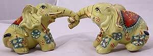 Feng Shui - 两位玩耍大象手工制作和装饰精致中国瓷制,小雕像 40155