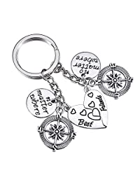 HooAMI 2 件 BBF Best Friends 吊坠项链钥匙扣戒指套装友谊礼物中性款 Keychain Set