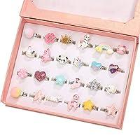 PinkSheep 小女孩珠宝戒指,盒子里,可调节,无重复,女孩假装游戏和装扮戒指 24 Ball Ring