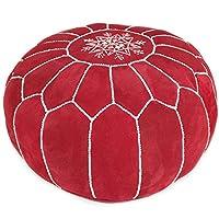 King of Handmade 摩洛哥绒面革 Pouf – 多功能搭扣和装饰性脚凳,适用于波西米亚客厅 – 采用天然材料制成,功能持久,未填充 红色
