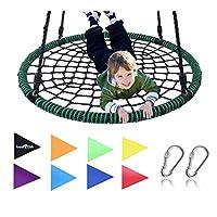 Royal Oak 巨型 40 英寸蜘蛛网树摇篮,承重 600 磅,耐用钢框架,防水,可调节绳,赠送国旗套装 2 个登山扣,非停止趣味儿童!