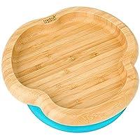 Baby Toddler 吸盘,吸附式喂食盘,天然竹子 蓝色