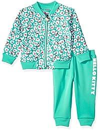 Hello Kitty 女婴潜水针织飞行员夹克裤子套装