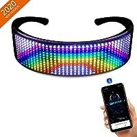 LED 眼镜,可定制 LED 发光眼镜带蓝牙适用于狂欢、生日、酒吧、庆祝、发光眼镜派对 - DIY 信息、动画、音乐(通过 APP 轻松控制)