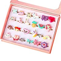 PinkSheep 小女孩珠宝戒指,盒子里,可调节,无重复,女孩假装游戏和装扮戒指 24 Bling Bling Ring
