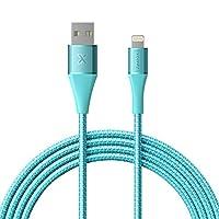 Xcentz iPhone 充电器,Apple MFi 认证闪电数据线,编织尼龙快速充电 iPhone 线,带高级金属连接器,适用于 iPhone X/XS/XR/XS Max/8/7/6/5S/SE,iPad Mini/Air 6ft 蓝色