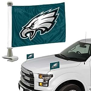 标语 NFL 费城老鹰队旗套装 2 件套大使风格费城老鹰队旗帜套装 2 件套大使风格,球队颜色,均码