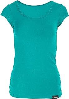 WINSHAPE 女士健身休闲瑜伽普拉提短袖衬衫 ocean-green S