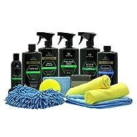 洗车套装完整细节用品清洁。 肥皂、蜡、轮胎光泽、修整剂、洗手手套、涂抹器、超细纤维毛巾,物超所值,适合卡车。 TriNova.