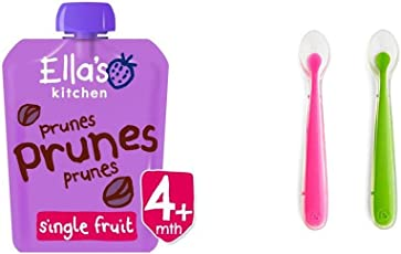 Ella's kitchen进口婴幼儿西梅果泥70g+美国 Munchkin 满趣健 婴儿全硅胶软勺2只