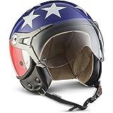 "SOXON SP-325 机车头盔 Jet-Helmet 复古 Bobber Mofa Cruiser 复古 Pilot Chopper Vespa-头盔 自行车头盔 滑板车头盔 ECE 认证 包括 遮阳板,包括 布袋 L (59-60cm) ""Multi"" SP 325"