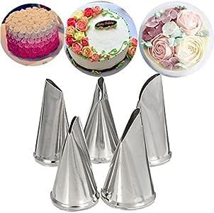 Katoot DIY 玫瑰花瓣冰管管嘴套装不锈钢蛋糕奶油装饰技巧烘焙纸杯蛋糕糕点工具套件 1 unknown
