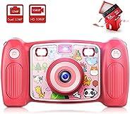 Victure 儿童相机数码可充电自拍动作相机 1080P 高清 12MP 带 2 英寸 LCD 显示屏和防震手柄,适合女孩男孩玩具礼品