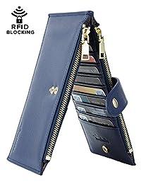 Travelambo 女式壁挂 RFID 屏蔽双折多卡包钱包带拉链口袋