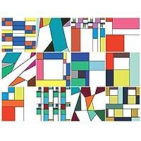 BRIKETO MONDRIAN 彩色玻璃装饰窗户贴纸(12 张 15.24x15.24 厘米)厨房或浴室用 - 多色玻璃装饰改善隐私 - 易于粘贴/移除 - *装饰