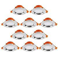 V-POWER LED筒灯3W/5W一体化全套纯白面板天花灯 三色变光开孔80-95MM (3W-10只装)