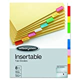 Wilson Jones Tab Dividers, Insertable, Multicolor Tabs , 8-Tabs, 1 Set (W54311A)