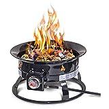 Outland Firebowl 893 豪华户外便携式丙烷燃气火盆带盖和携带套件,19 英寸直径 58,000 BTU