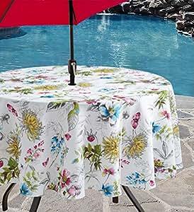 Benson Mills 室内户外防漏桌布,适合春/夏/派对/野餐(盛开花朵,177.8 厘米圆形带雨伞孔)