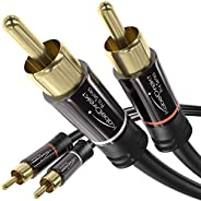 KabelDirekt 1m RCA音频视频电缆/线缆(2 RCA至2 RCA、放大器、AV接收器、高保真、数字和模拟、双屏蔽)PRO系列
