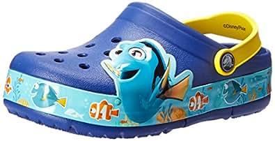 Crocs 卡骆驰 多莉去哪儿 K 闪灯 洞洞鞋 (幼儿/小童) Cerulean Blue/Lemon 1 M US 儿童