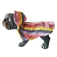 Yani's Gifts 巴哈斗篷狗衣服,温暖的狗狗赛拉普,舒适正品巴哈狗连帽衫,狗狗的舒适Jerga斗篷,浅粉色彩虹*小狗连帽衫 Light Pink, Multi-color 中