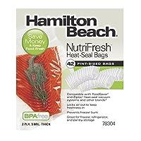 Hamilton Beach 真空封口机, ( 44-pack ) pint-size BAGS for nutrifresh , foodsaver & 其他 heat-seal 系统 ( 78304可 )