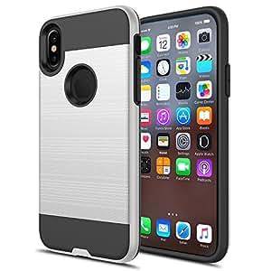 iPhone X 手机壳,红檀混合双层纤薄刷纹理保护混合防护装甲手机壳适用于 iPhone 10 银色