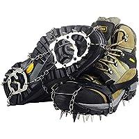 Ravifun 冰鞋、雪鞋钉、Crampons 男女皆宜防滑鞋履带、18 个牙齿不锈钢,适合冬季徒步登山,尺码 M/L/XL