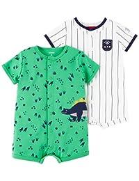 Carter's 男婴 2 件装卡扣连体衣 Dino/Mvp 12 Months