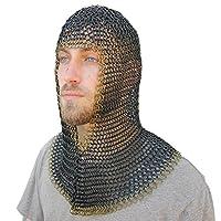 中世纪 V 黄铜表面轻质钢链条铜盔甲
