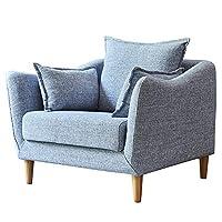 百伽 北欧简约单人沙发小户型客厅家具整装现代布艺沙发椅65899 单人位 灰色【亚马逊自营,供应商配送】