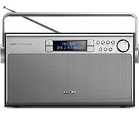Philips飛利浦 AE5020 便攜式收音機(帶 DAB+,數碼 FM,電池或電源運行,程序存儲) 銀白色/黑色