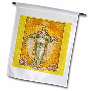 3dRose fl_18943_1 公主金色花花园旗,30.48 x 45.72 cm