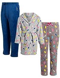 Diesel 迪赛女童毛绒睡袍和休闲裤 3 件套