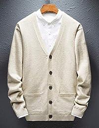 Goralon 男士针织开衫毛衣装饰扣子休闲纯色修身毛线衣韩版时尚帅气外套男薄款针织毛衣