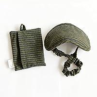 Jeanpop简璞 日式良品 针织便携眼罩(含收纳袋) 高弹性纯棉面料 遮光透气无压迫 1只装(海军蓝绿)