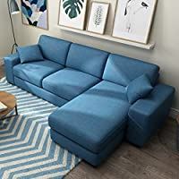 【下单立减200元】赞居 布艺沙发 可拆卸客厅沙发组合 三人位+贵妃榻 小户型简约家具 (蓝色, 三人位)