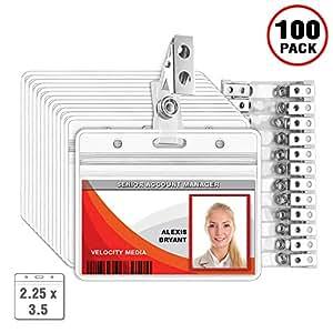 MIFFLIN 透明塑料姓名标签 ID 徽章夹和金属徽章夹子 100 Pack Horizontal 2.25x3.5