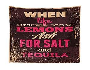 "Lunarable 复古挂毯,When Life Gives You Lemons Tequila *精励语 Yin Yang Grunge 图片,卧室客厅宿舍的织物墙挂装饰,棕色粉色 Multi 1 28"" W By 23"" L micwid_22064_28x23"