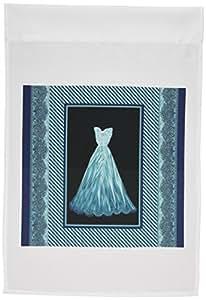 jaclinart 连衣裙礼服条纹锦缎 ribbons–深青色蓝色礼服,条纹锦缎画框–旗帜 12 x 18 inch Garden Flag