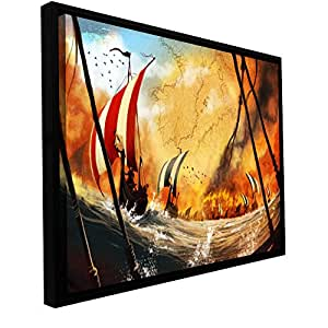ArtWall Luis Peres 'Old Times 2' Floater Framed Gallery-Wrapped Canvas Artwork, 18 by 36-Inch, Holds 16.5 by 34.5-Inch Image
